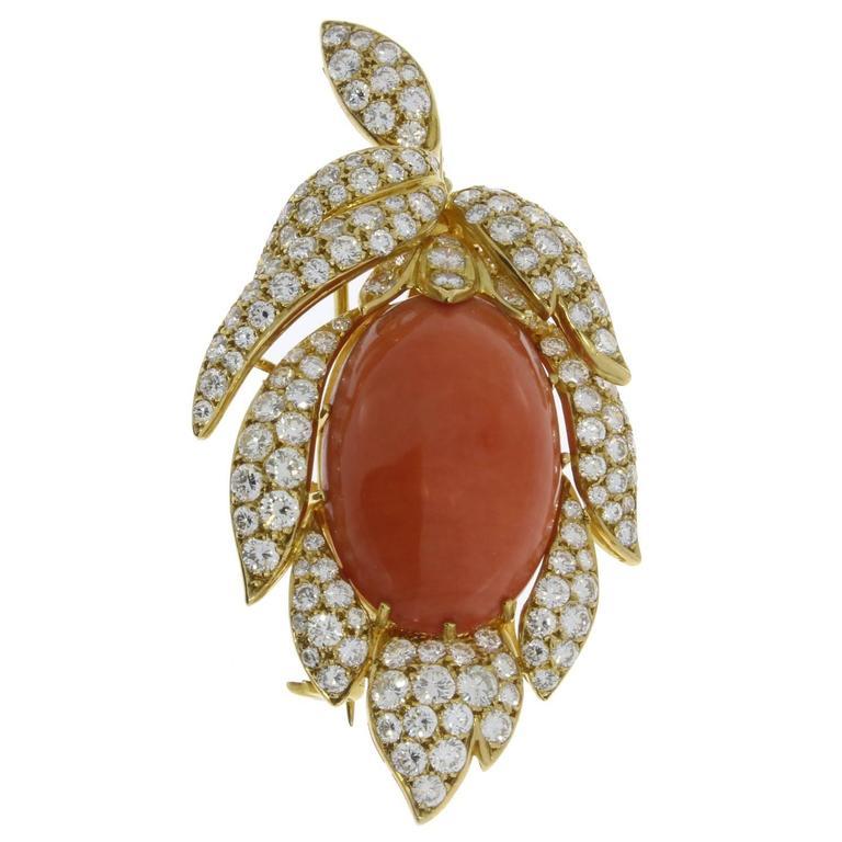 Coral Diamond Gold Brooch Pendant, 1960s