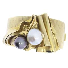 One of a Kind Pearl Gold Bangle Bracelet