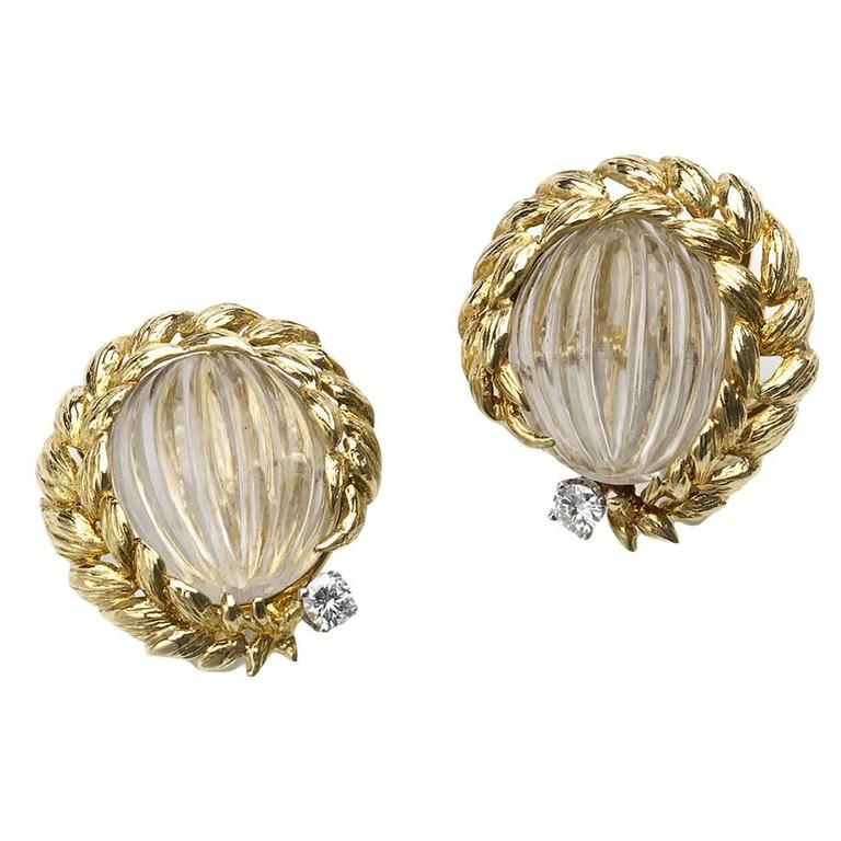 David Webb Rock Crystal Diamond Gold Earrings 1
