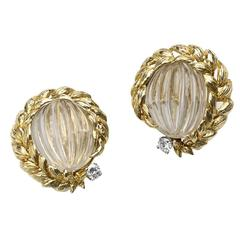 David Webb Rock Crystal Diamond Gold Earrings
