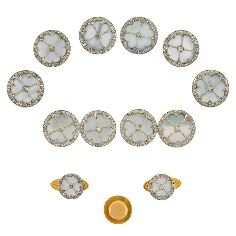 Edwardian Mother of Pearl Diamond Gold Platinum 11 piece Cufflink Set
