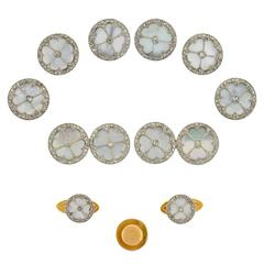 Edwardian Mother of Pearl Diamond Gold Platinum 11 piece Cufflink Set