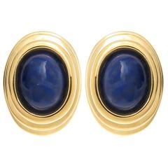 Tiffany & Co. Lapis Gold Earrings