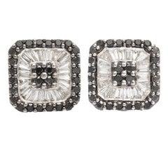 Black and White Diamond Gold Earrings
