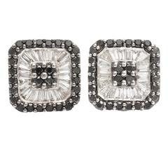 Black and White Diamond Gold Earrings