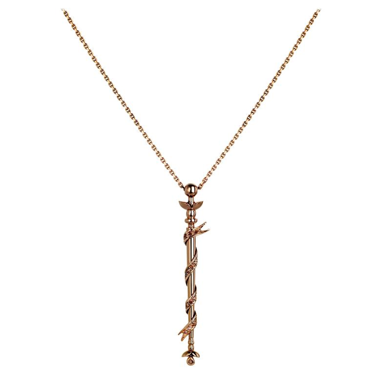 Ana De Costa Rose Gold Round Cognac Diamond Wand Ribbon Drop Pendant