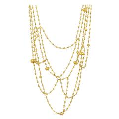 Pippa Small Multi-Strand Gold Bead Tangle Necklace