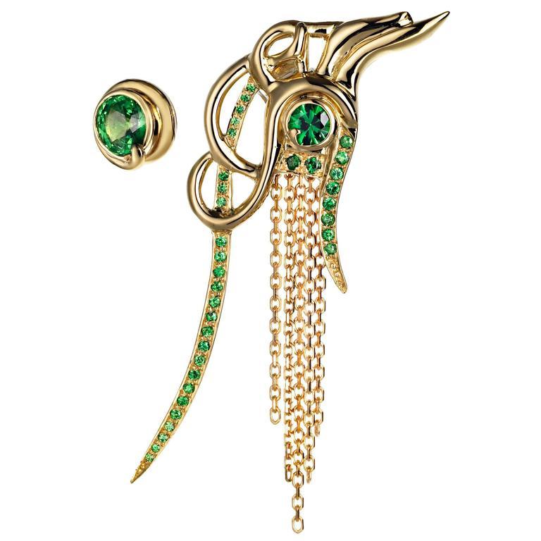 Ana de Costa Yellow Gold Round Green Tsavorite Asymmetric Drop Chain Earrings