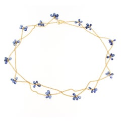 Jona Blue Sapphire 18 Karat Yellow Gold Long Chain Necklace