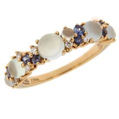Jona Aquamarine Chalcedony Blue Sapphire Diamond Gold Ring