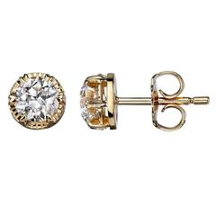 Old European Cut Diamond Stud Earrings