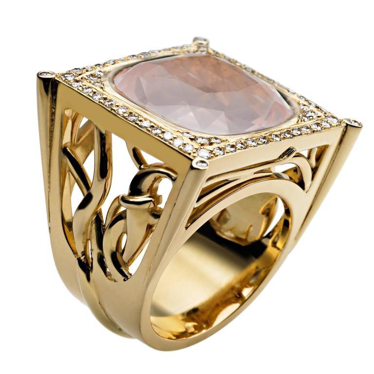 Ana De Costa Gold Rose Quartz Diamond Square Ring 1