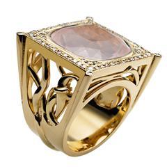 Ana De Costa Yellow Gold Rose Quartz White Diamond Square Cocktail Ring