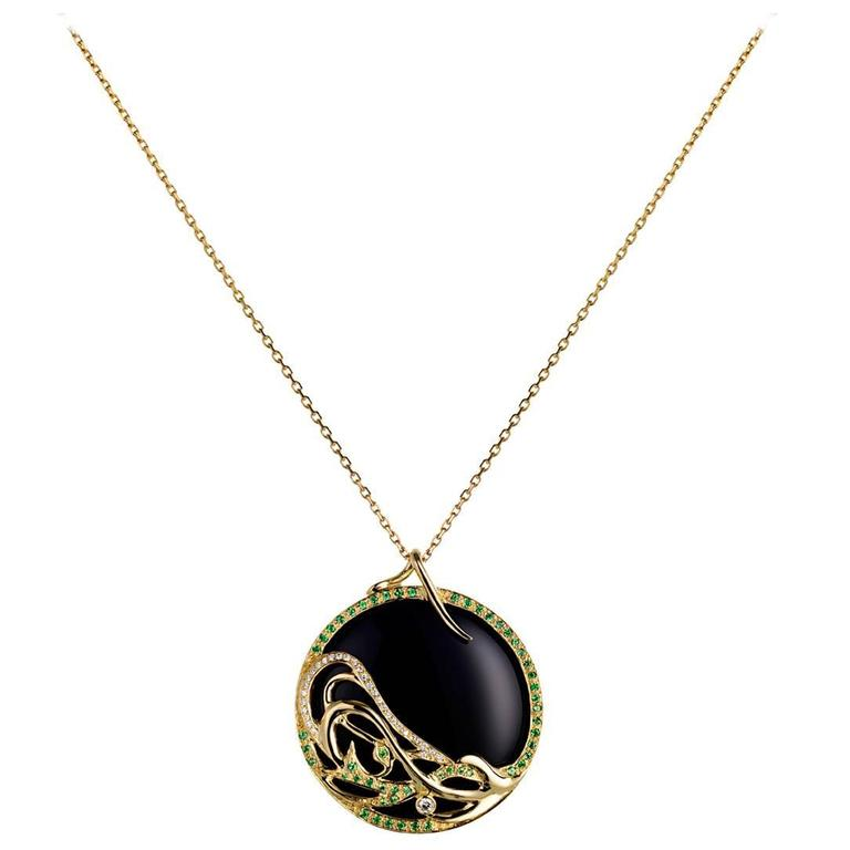 Ana De Costa Yellow Gold Green Tsavorite Black Onyx White Diamond Drop Pendant