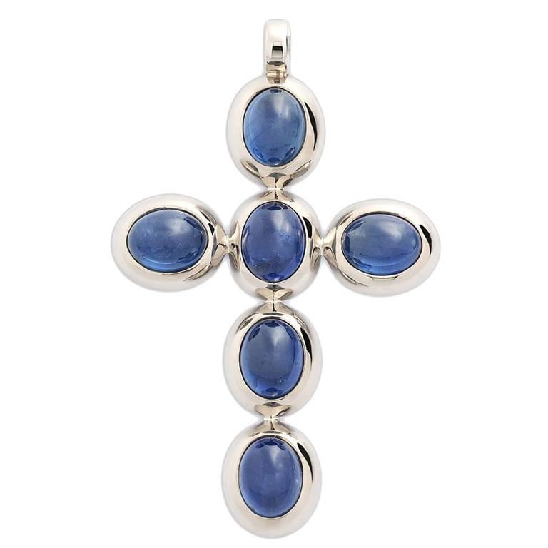 Colleen B. Rosenblat Sapphire Gold Cross Pendant