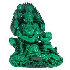 Carved Malachite Figure of Guanyin