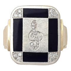 1940s Diamond & Black Enamel Yellow Gold Ring