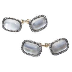 1900s Faberge Moonstone Silver Gold Cufflinks