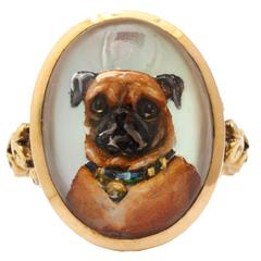 Love is a Pug Reverse Crystal Victorian Intaglio Ring c. 1870