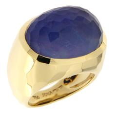 Jona Lapis Lazuli Rock Crystal Yellow Gold Ring
