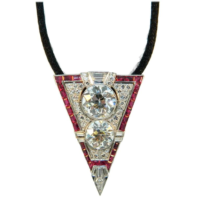 1920s art deco ruby diamond platinum clip necklace at 1stdibs