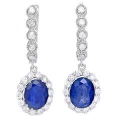 Stunning Sapphire Diamond Gold Dangle Earrings