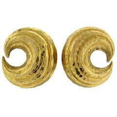 David Webb Large Hammered Gold Swirl Motif Earrings