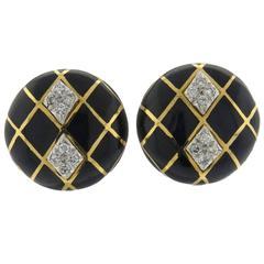 David Webb Classic Enamel Diamond Gold Platinum Button Earrings