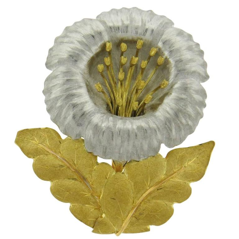 Buccellati Large Two Color Gold Sunflower Brooch Pin