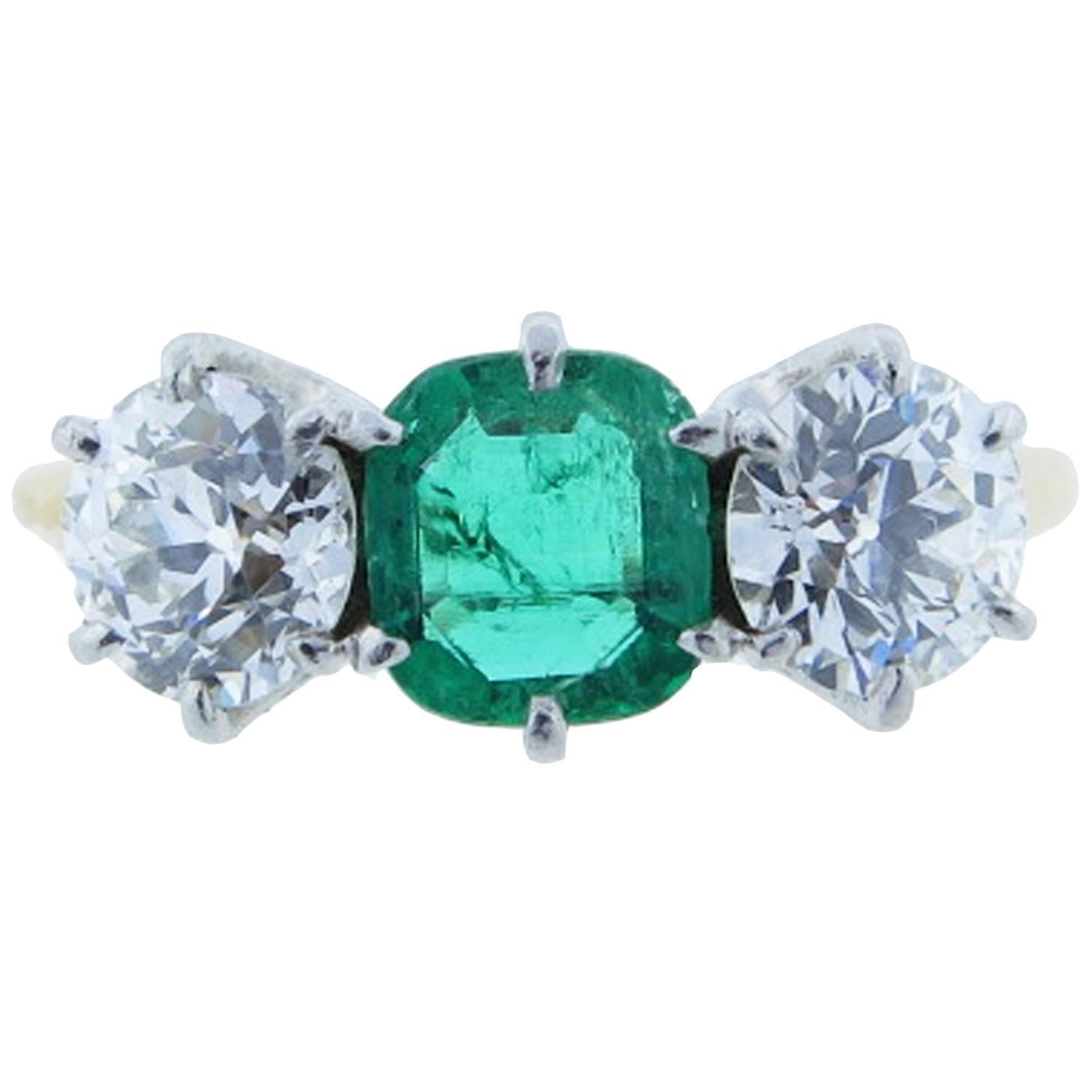 Antique Emerald Diamond Gold Three Stone Ring at 1stdibs
