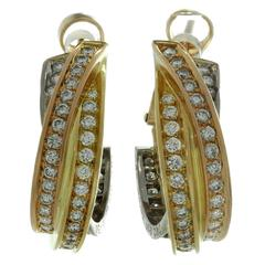 Cartier Trinity Diamond Tricolor Gold Earrings