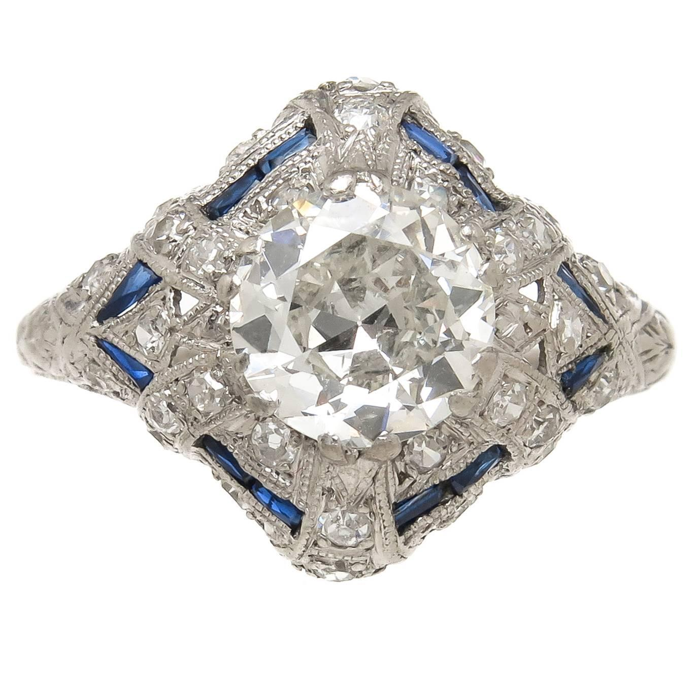 Gemstone Engagement Rings Chicago: 1930 Diamond Platinum Engagement Ring For Sale At 1stdibs