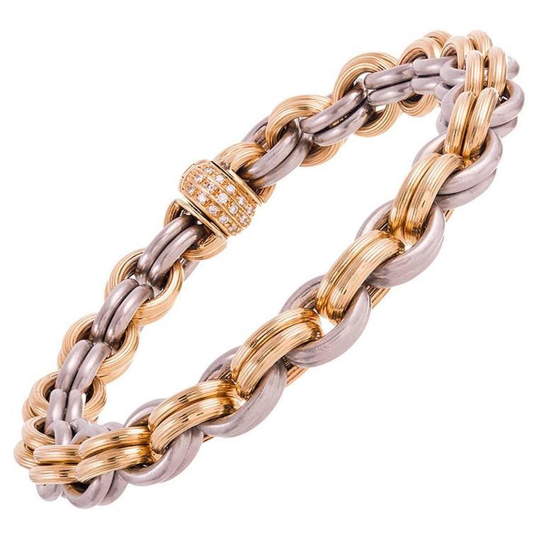 Gold Platinum Link Bracelet  1