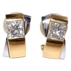 Friedrich Princess-Cut Diamond Gold Earclips