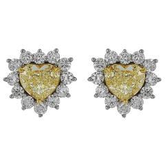 Diamond Gold Platinum Heart Earrings