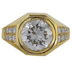 Bulgari 3.01 Carat GIA Cert Diamond Gold Ring