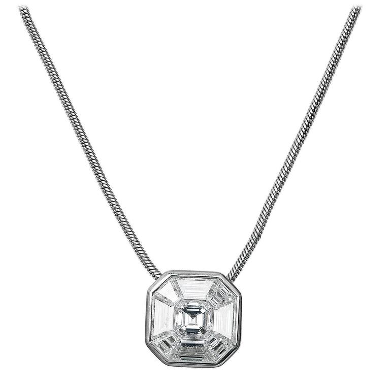 1.00 Carat Invisibly Set Diamond Gold Pendant and Chain