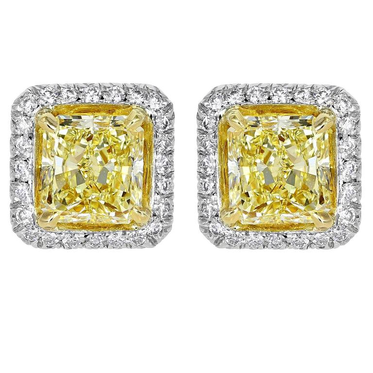 2.03 Carat Canary Diamond Stud Two Color Gold Earrings