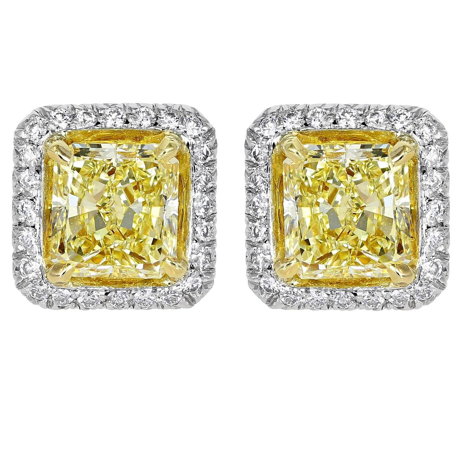 diamond gold white earrings canary es finish genuine