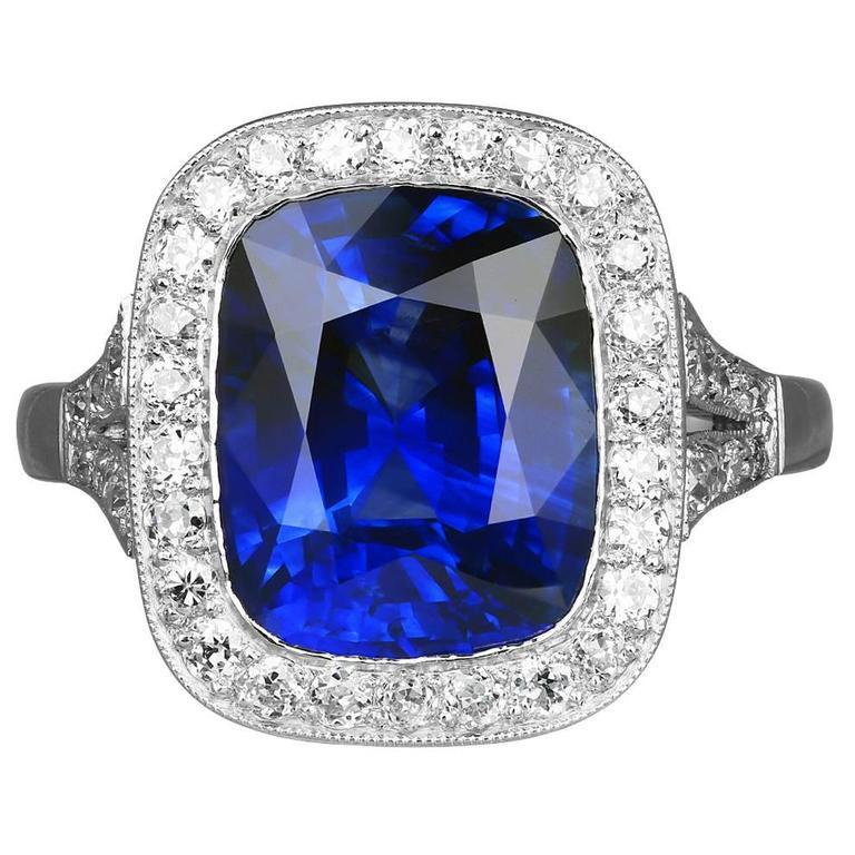 5.66 Carat Cushion Cut Sapphire Diamond Platinum Ring