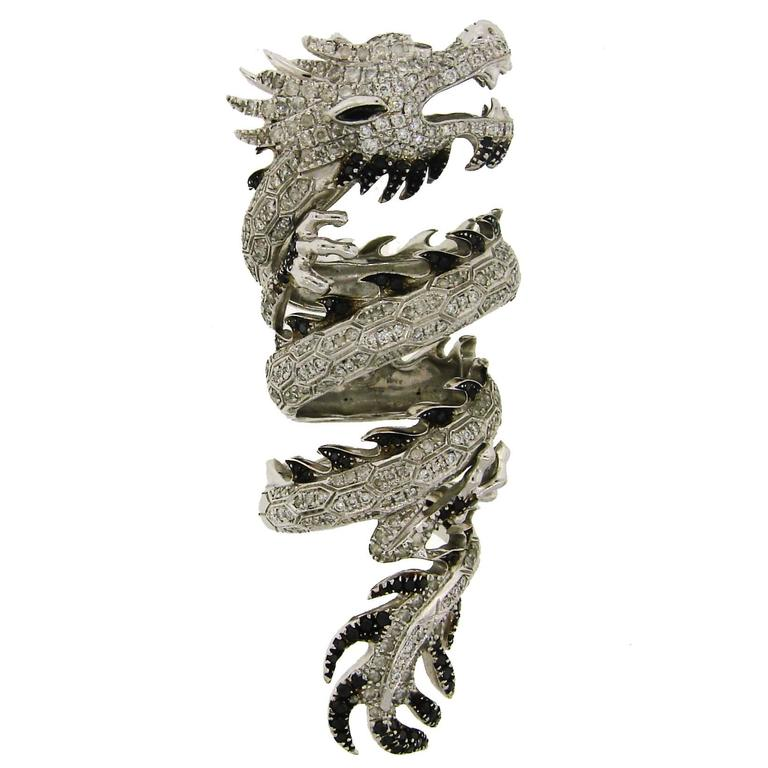 Elise Dray Diamond Gold Mechanical Dragon Ring  1