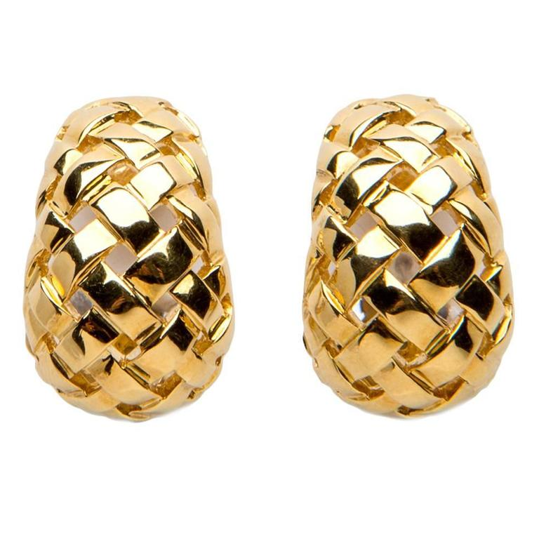 Tiffany Co Vannerie Collection Woven Gold Earrings For
