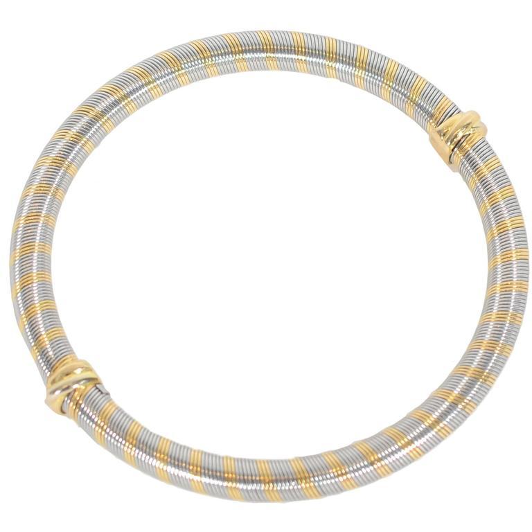 Cartier Steel Gold Bangle Bracelet For Sale