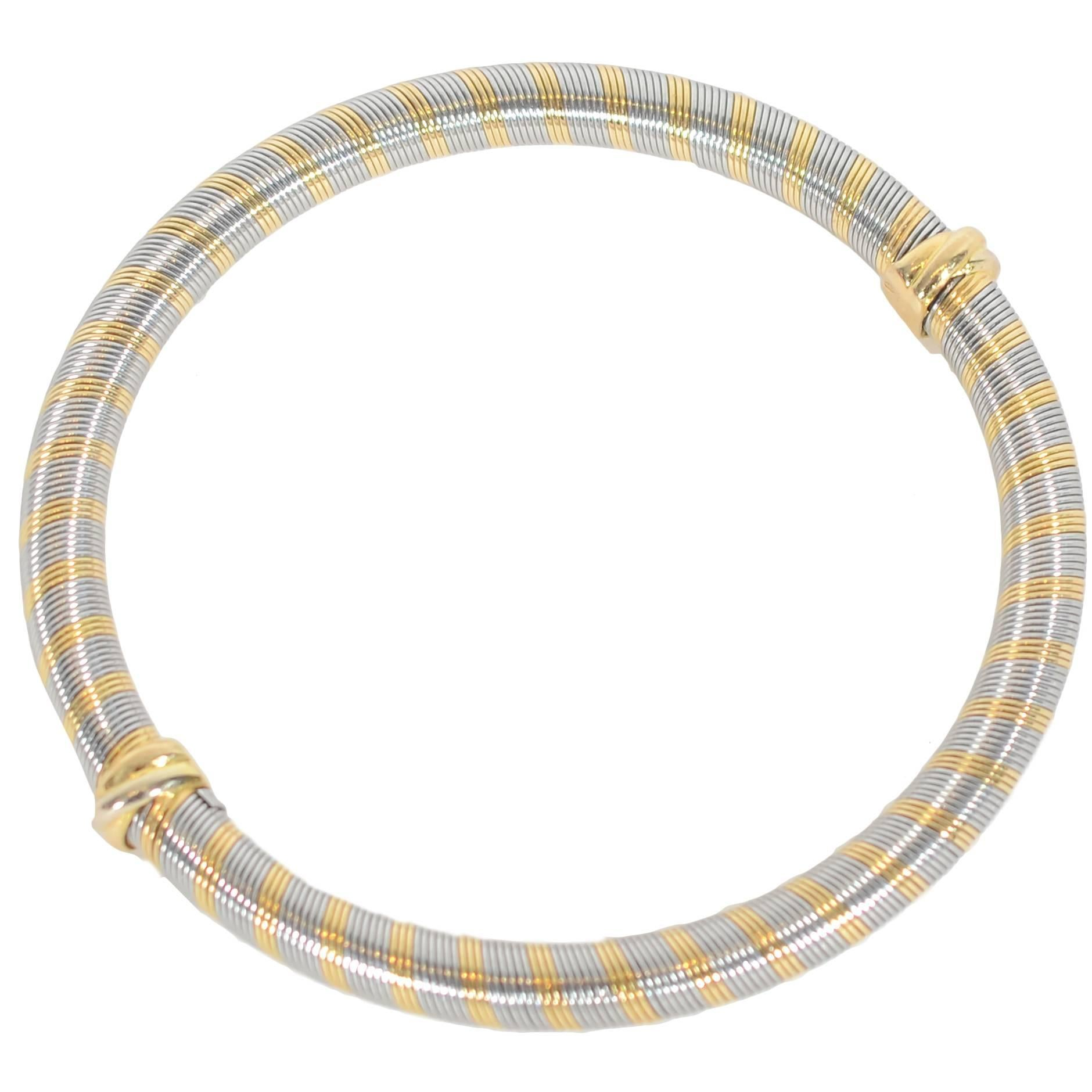 Cartier Steel Gold Bangle Bracelet