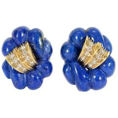 Carved Lapis Diamond Gold Earrings