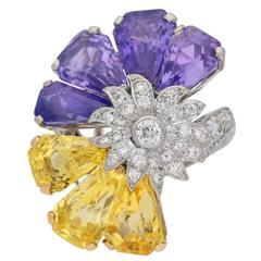 1960s Oscar Heyman Bros. Yellow and Purple Sapphire Diamond Gold Platinum Ring