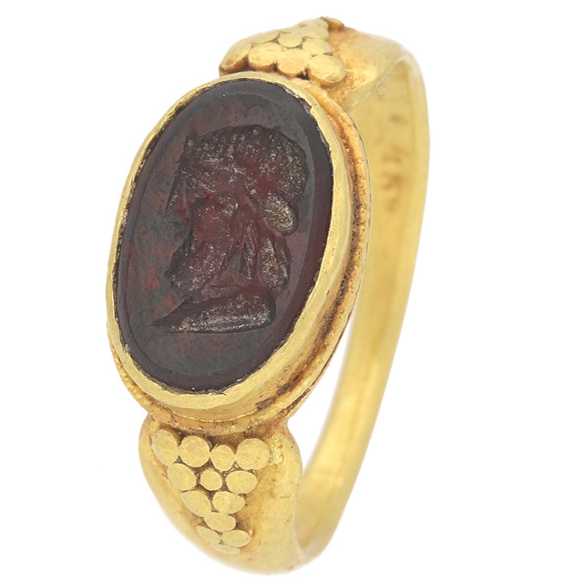 Museum Quality Ancient Roman Jupiter Intaglio Signet Ring