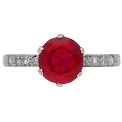 1920s Natural Burmese Ruby Diamond Platinum Ring