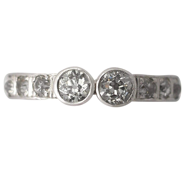 0.80Ct Diamond and 18k White Gold Half Eternity Ring ...