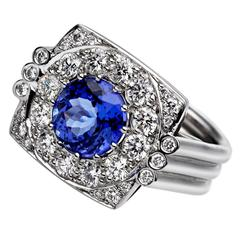 Ana de Costa Round Blue Tanzanite White Diamond White Gold Cluster Cocktail Ring